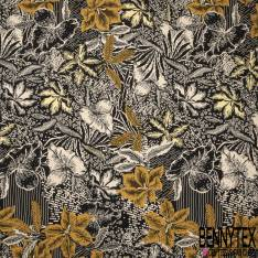 Fibranne Viscose Toucher Pashmina imprimé Ethnique Floral Tropical Beige Ocre fond Noir
