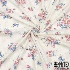 Voile de Coton Imprimé Fleur Aquarelle Multicolore fond Gris Perle