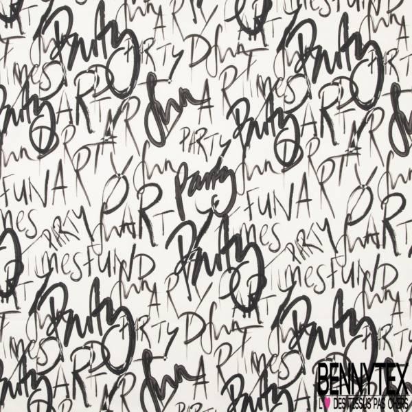 Gabardine Coton Elasthanne imprimé Typographie Noir fond Blanc