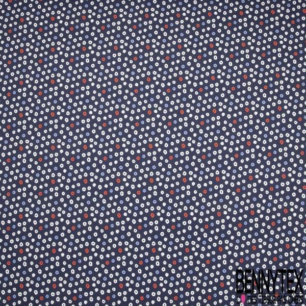 Satin de Coton Elasthanne imprimé Léopard Marine Envol de Fleur Corail fond Ecru
