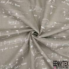 Toile Lin Souple Imprimé Partition de Musique Blanche fond Naturel