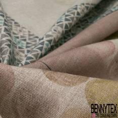Panneau 4 Torchons en Toile Lin Souple Imprimé Tasse fond Naturel