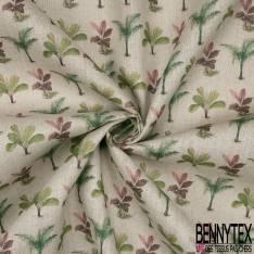 Toile Lin Souple Imprimé Rangée de Plante verte fond Naturel