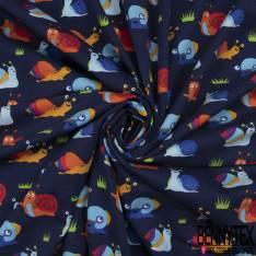 Jersey Coton Elasthanne Imprimé Petit Escargot Rigolo fond Marine