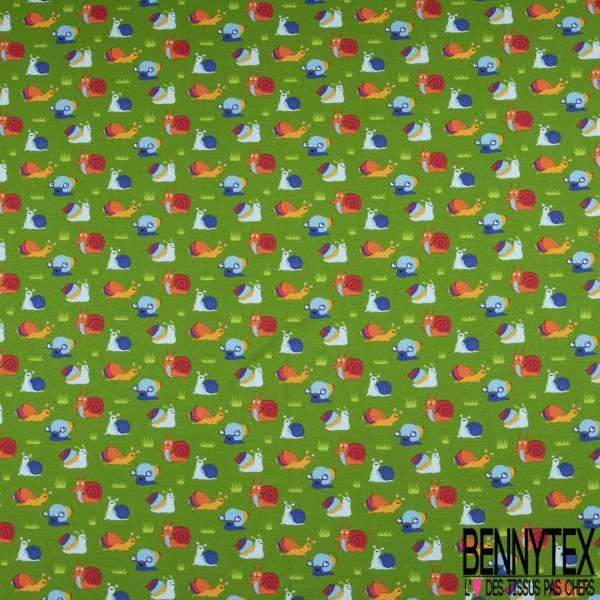 Jersey Coton Elasthanne Imprimé Petit Escargot Rigolo fond Vert Pomme