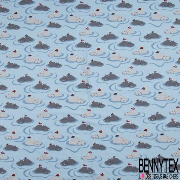 Jersey Coton Elasthanne Imprimé Hippopotame et Oiseau dans l'eau Bleu Ciel