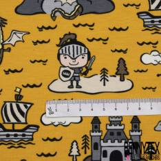 Jersey Coton Elasthanne Imprimé Chevalier et Dragon fond Moutarde