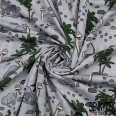 Jersey Coton Elasthanne Imprimé Dinosaure Souris fond Marbré Gris Perle