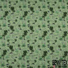 Jersey Coton Elasthanne Imprimé Dinosaure Vert fond Marbré Gris Amande