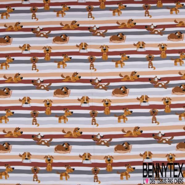 Jersey Coton Elasthanne Imprimé Chien de Famille fond Rayé Gris Rouille Blanc
