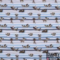 Jersey Coton Elasthanne Imprimé Chien de Famille fond Rayé Bleu Gris Blanc