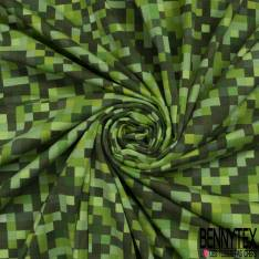 Jersey Coton Elasthanne Imprimé Pixel Camaïeu Vert