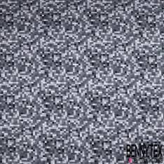 Jersey Coton Elasthanne Imprimé Pixel Camaïeu Gris