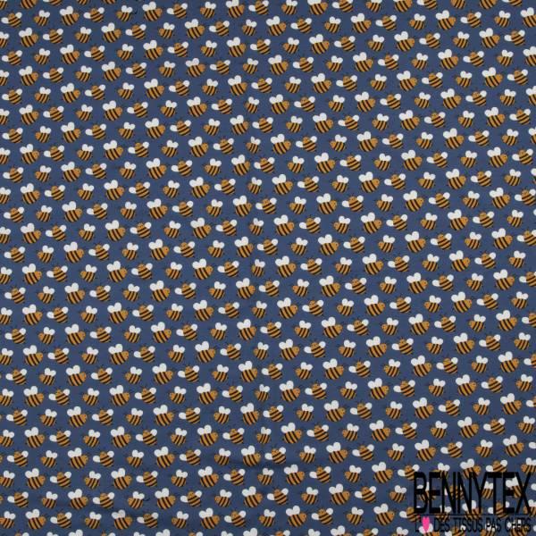 Jersey Coton Elasthanne Imprimé Petite Abeille fond Indigo