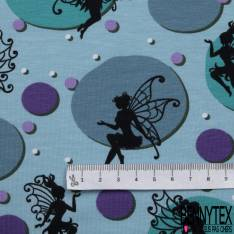 Jersey Coton Elasthanne Imprimé Ombre Petite Fée dans Bulle ton Turquoise Violet