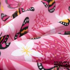 Jersey Coton Elasthanne Imprimé Envol de Papillon et Fleur ton Rose Orange