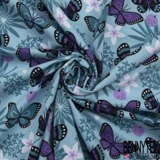 Jersey Coton Elasthanne Imprimé Envol de Papillon et Fleur ton Bleu Violet