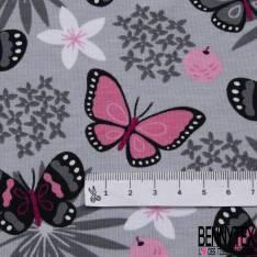 Jersey Coton Elasthanne Imprimé Envol de Papillon et Fleur ton Gris Rose