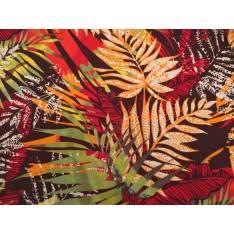 Néoprène Imprimé feuilles tropicales Rouge Bordeaux fond Choco