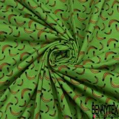 Jersey Coton Elasthanne Imprimé Banane fond Vert Pomme