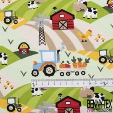 Jersey Coton Elasthanne Imprimé Tracteur Animaux et Ferme