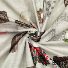 Coton Enduit Impression Fleur dans Bulle Fantaisie Noir Blanc fond Bleu Vert de Gris