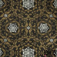 Coton Enduit Impression Flocon de Neige Blanc Baroque Ocre fond Anthracite
