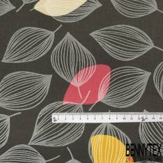Coton Enduit Impression Feuille Stylisée Fantaisie Blanche Rose Turquoise Jaune fond Anthracite