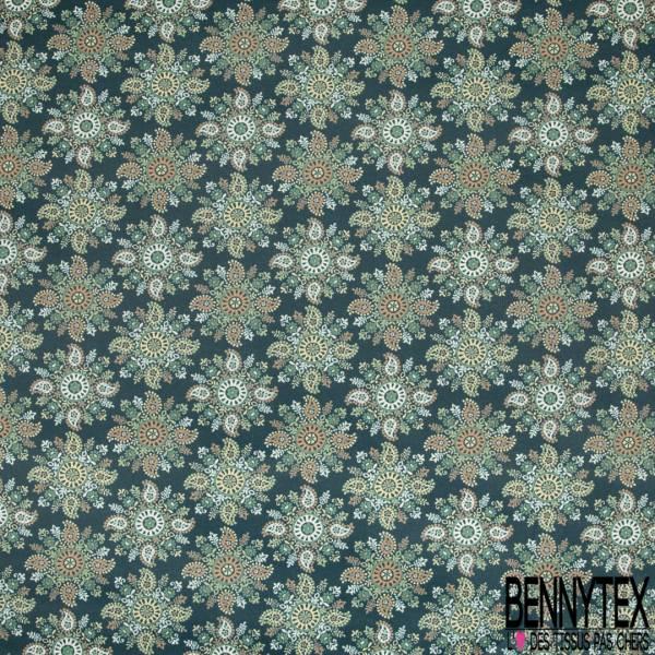 Coton Enduit Impression Fleur Cachemire fond Pétrole
