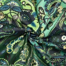 Coton Enduit Impression Floral Fantaisie ton Vert et Bleu