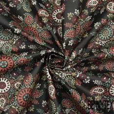 Coton Enduit Impression Fleur Cachemire Multicolore fond Noir