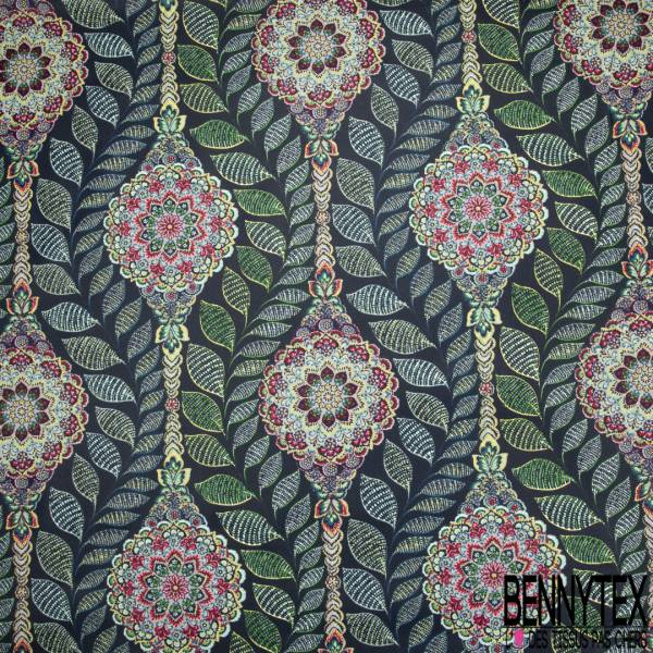 Coton Enduit Impression Motif Floral Cachemire Multicolore Feuille fond Marine