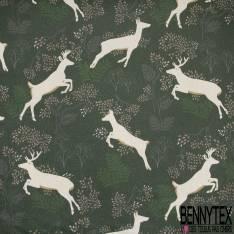 Coton Enduit Impression Saut de Biche dans la Forêt fond Vert Anglais Paillette Argent