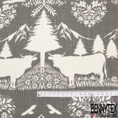 Toile Lin Souple imprimé Hautes Montagnes Chamois Aigle Marmotte Blanc fond Gris Souris