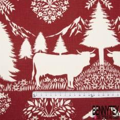 Toile Lin Souple imprimé Hautes Montagnes Chamois Aigle Marmotte Blanc fond Rouge