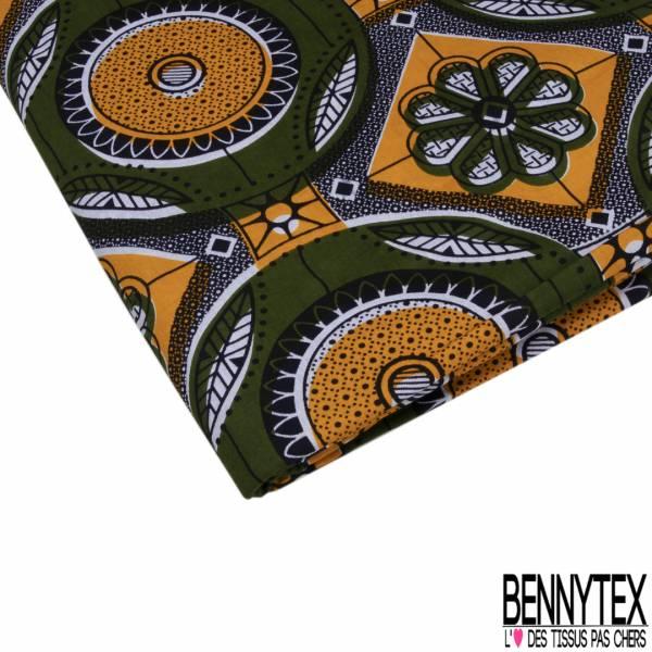 Wax Africain N° 843: Motif Floral et Cercle Fantaisie ton Kaki Orange fond Motif Cravate