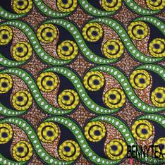 Wax Africain N° 847: Motif Spirale Jaune Noir fond Abstrait Naïf Multicolore