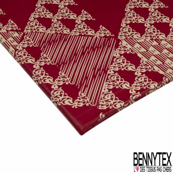 Wax Africain N° 851: Motif Répétitif Fleur Stylisée et Striée Chair fond Vert Sapin