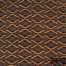 Wax Africain N° 872: Motif Sinusoïdal Ethnique ton Marron Ocre Canard