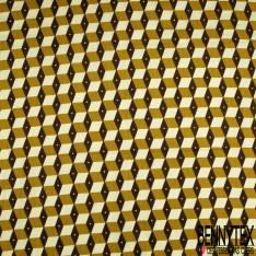 Wax Africain N° 856: Motif Carré 3D Ocre Crème Choco