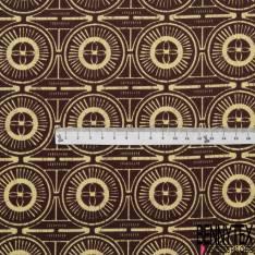 Wax Africain N° 863: Motif Géométrique Esprit Tribal Ethnique ton Marron Crème
