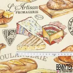 Gabardine Coton Imprimé Boulangerie et Plateau de fromage fond Nude
