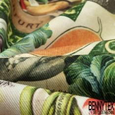 Gabardine Coton Imprimé Légume Oublié