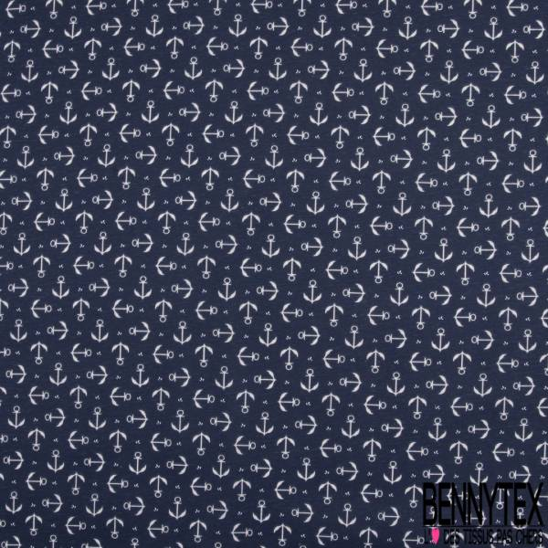 PUL de Jersey de Coton Imperméable Certifié Oeko tex Imprimé Ancre Blanche fond Marine