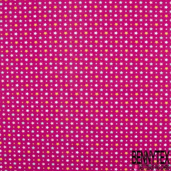 PUL de Jersey de Coton Imperméable Certifié Oeko tex Imprimé Etoile fond Framboise
