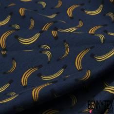 Jersey Coton Elasthanne Imprimé Banane fond Marine