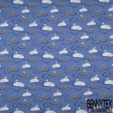 Jersey Coton Elasthanne Imprimé Hippopotame et Oiseau dans l'eau Indigo
