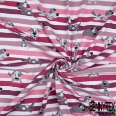Jersey Coton Elasthanne Imprimé Chien de Famille fond Rayé Framboise Prune Rose Blanc