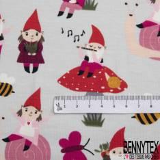 Jersey Coton Elasthanne Imprimé Gnome dans la Nature fond Gris