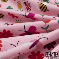 Jersey Coton Elasthanne Imprimé Coccinelle Fleur Papillon fond Rose
